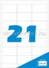 Etikett címke A4 (63,5 x 38,1 mm) kerekített sarkú 21 db etikett címke/ív  100 db ív/csomag