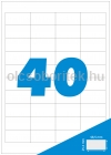 Etikett címke A4 (48,5 x 25,4 mm) kerekített sarkú, 40 db etikett címke/ív  100 db ív/csomag